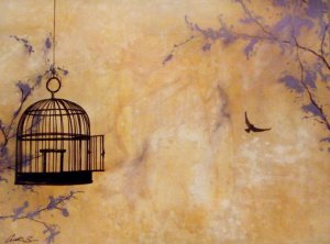 First letters of STANLEY L. COHEN covered by the cage. The freed bird over the last letter. Send a letter to the caged: http://freestanleycohen.xs2.net