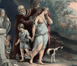 1500 BC, Old Testament prophet Abraham banishes Hagar and her son Ishmael into the wilderness after the birth of Isaac to his aged, barren wife Sarah. Genesis, chapter 16. (Photo by Hulton Archive/Getty Images)