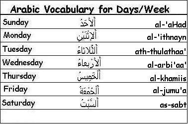 arabic-days-of-the-week