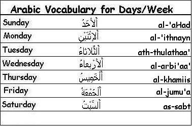arabic-days-of-the-week